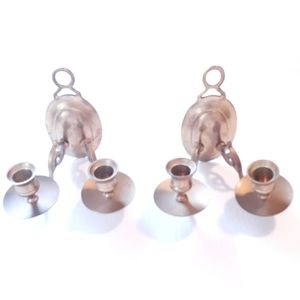 VINTAGE PAIR DOUBLE BRASS HANGING CANDLE HOLDERS